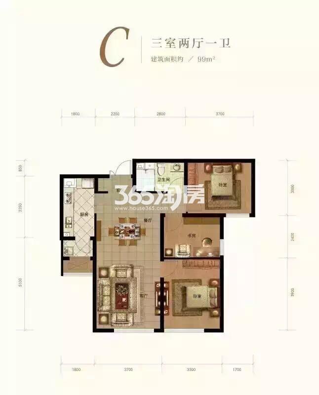 C户型 3室2厅1卫 99平米