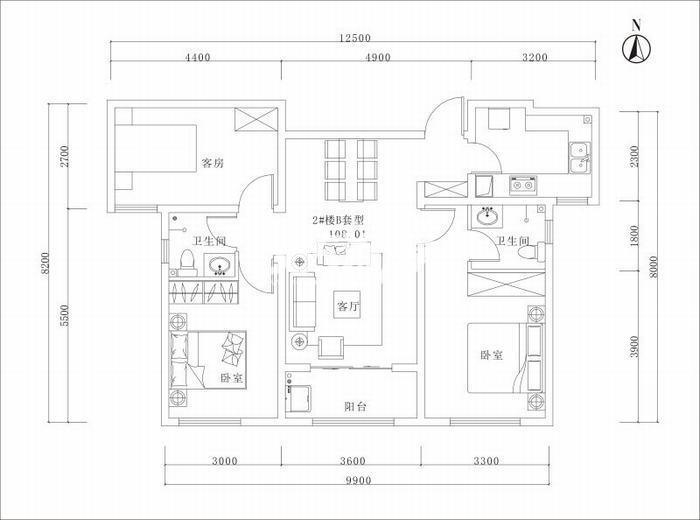 曲江美好时光三室两厅一厨一卫108平米