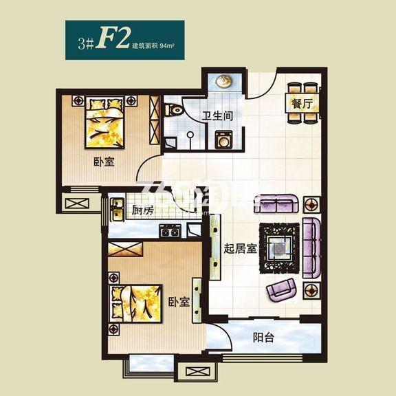 弘石湾3#标准层F2户型2室2厅1厨1卫94.00㎡