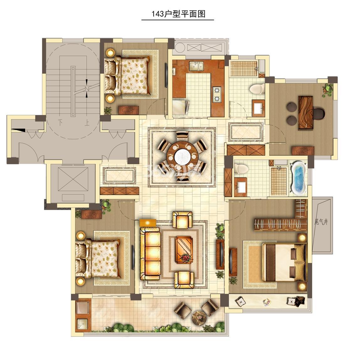 旭辉中粮朗香郡B户型约143㎡(7、10、12、15#东边套)
