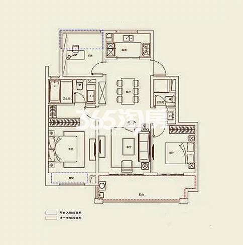 A4户型, 3室2厅2卫1厨