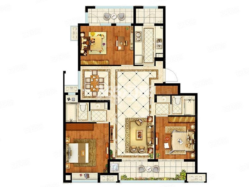 融创枫丹御园洋房129平户型图