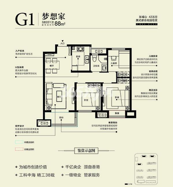 中海城高层G1户型88㎡