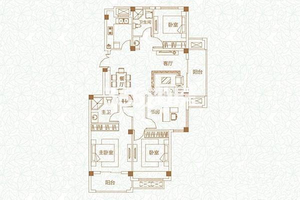 E2户型 4室2厅2卫1厨 126㎡