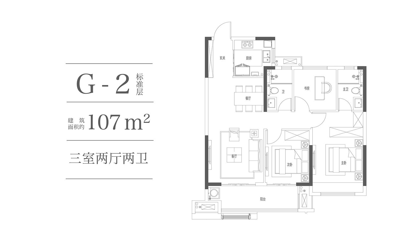 合景映月湾G-2户型107㎡