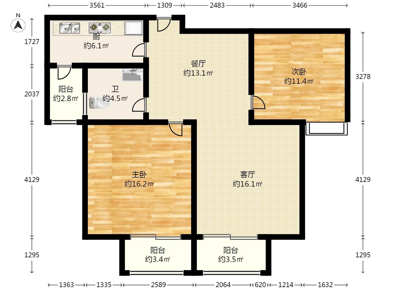观山悦2室2厅1卫93平方米256万元