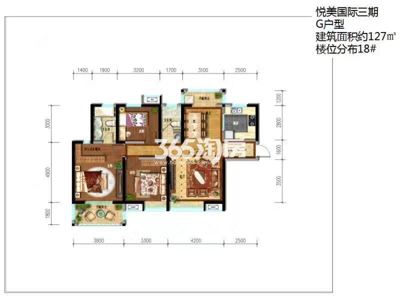 悦美国际三期G户型18#楼三室两厅一厨二卫127㎡