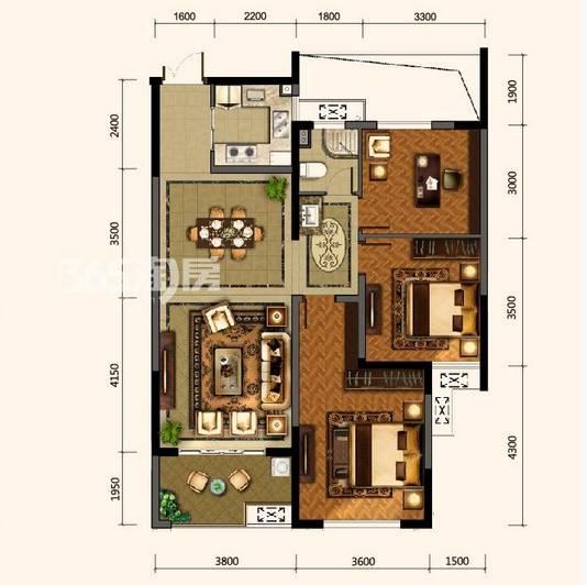 户型:3室2厅 面积:109�O