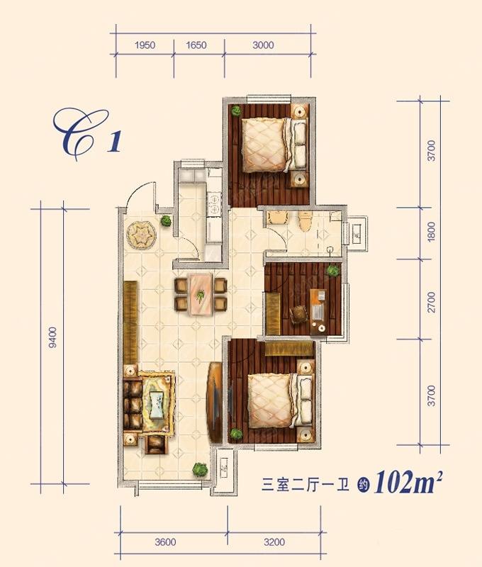 102平米 3室2厅1卫