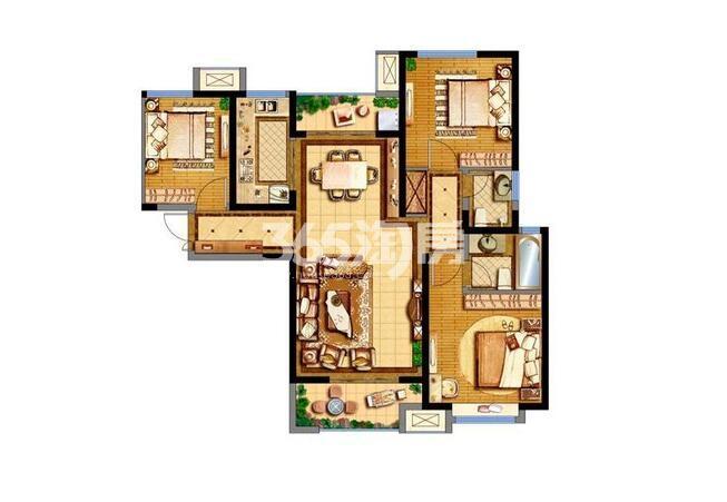德杰德裕天下15#楼3室2厅1卫1厨115.23平