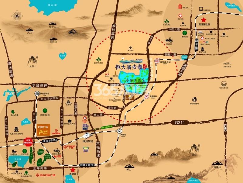 恒大潘安湖生态小镇区位图