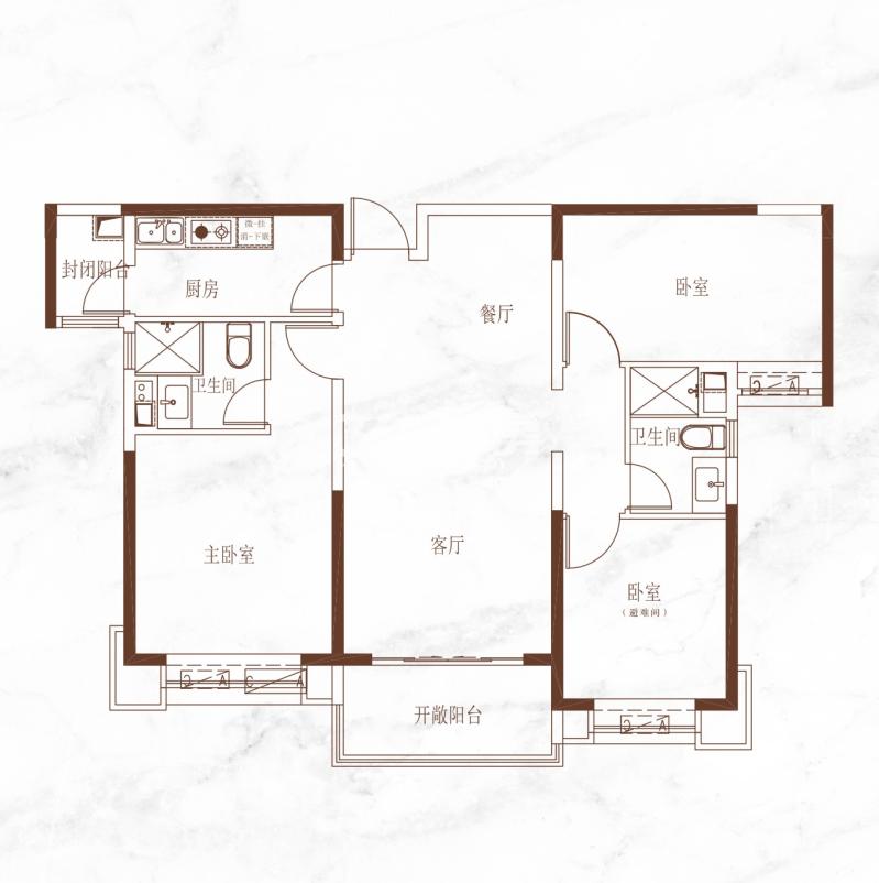 恒大悦龙台三室两厅两卫128.37㎡