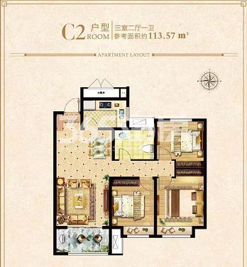 荣盛城四期C2户型113.57㎡三室