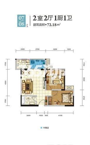 天伦佐治公馆1#楼07/08房户型2室2厅1卫1厨72.18㎡