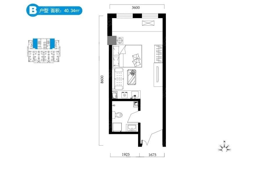 B户型40.34平米 1是1厅1卫