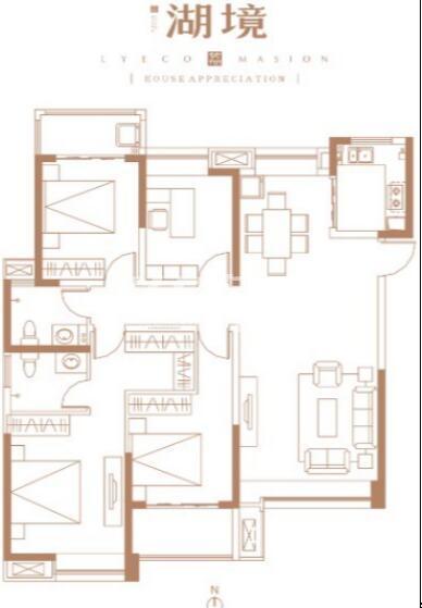 万斤荔知湾二期户型4室2厅1厨2卫144平米