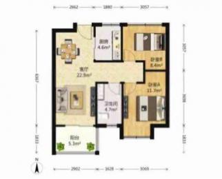 <font color=red>中海国际社区一期</font>2室2厅1卫83平米整租简装