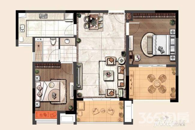 雨花台区铁心桥琥珀森林二期2室2厅户型图