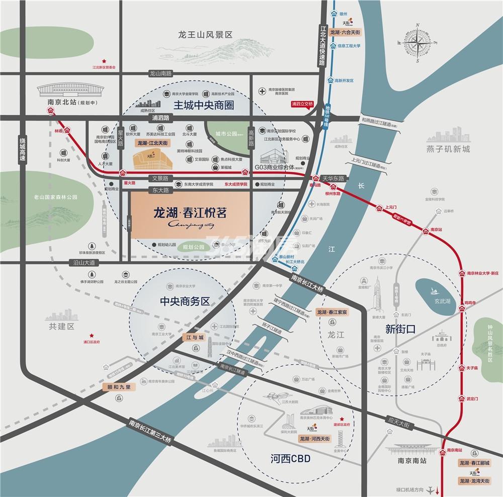 龙湖春江悦茗交通图