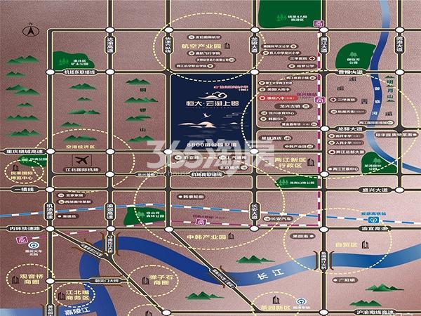 恒大云湖上郡交通图