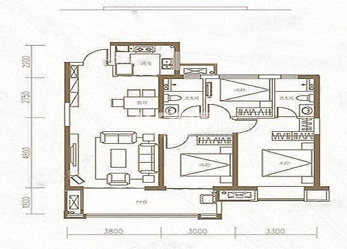 金地中心风华三室两厅108㎡户型图