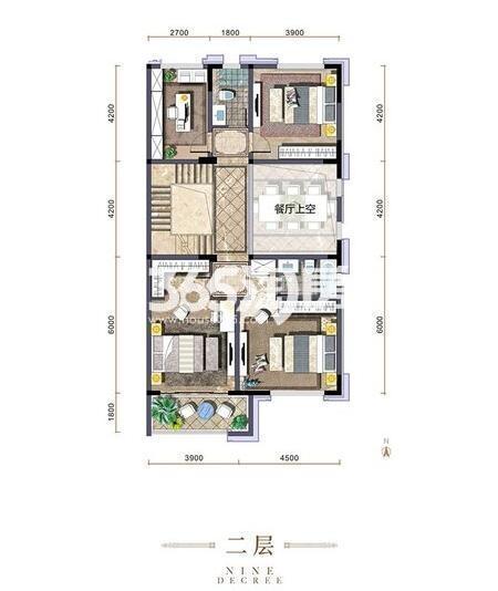 金地九玺世席户型二层4室3厅4卫1厨449.00㎡