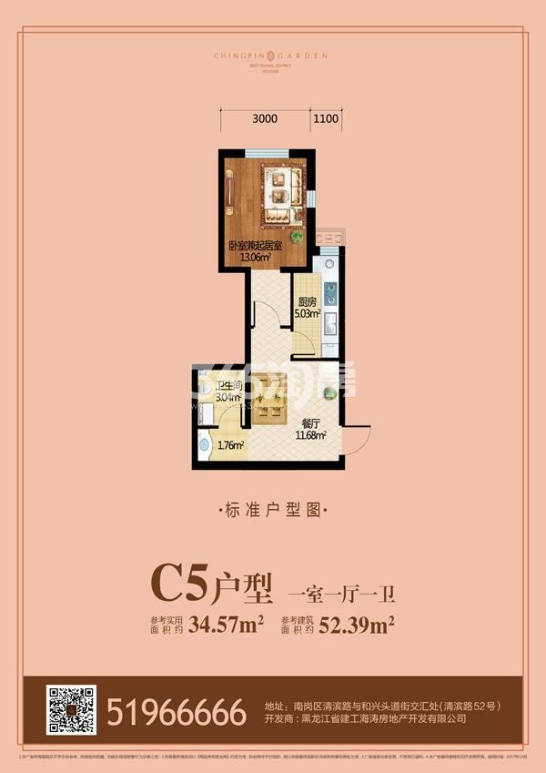 C5户型 一室一厅一卫