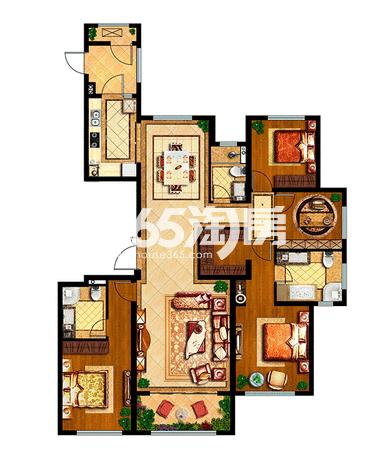 中国铁建西派国际178平户型4室2厅3卫1厨