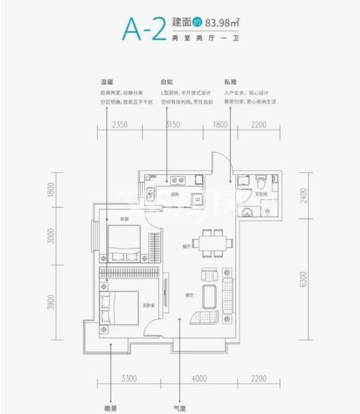 铂悦·兴隆府项目户型图(建面约83.98㎡)