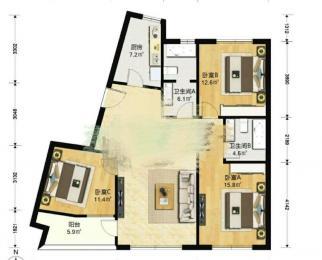 威尼斯水城3街区3室2厅2卫130平米2014年产权房简装