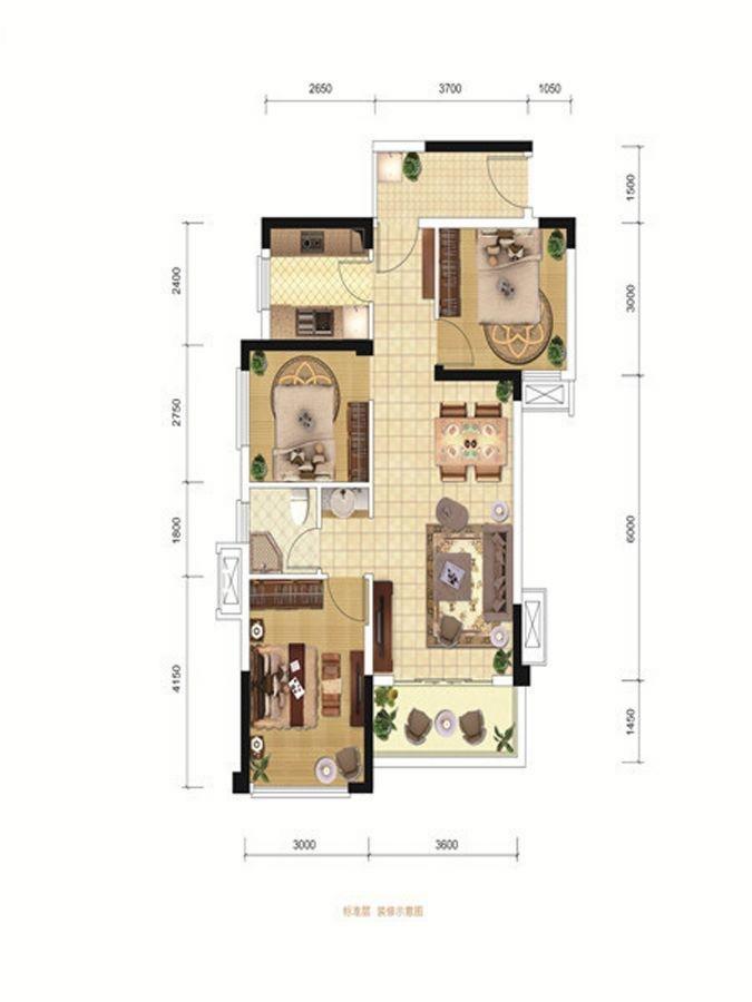 B3户型 3室2厅1卫 79.00㎡
