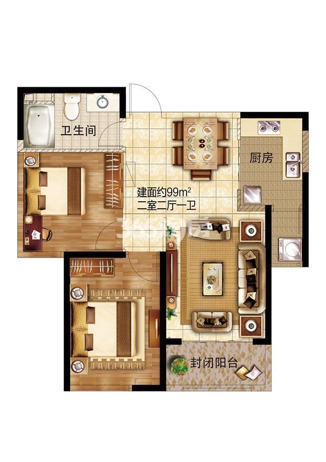 39#两室两厅一卫99㎡