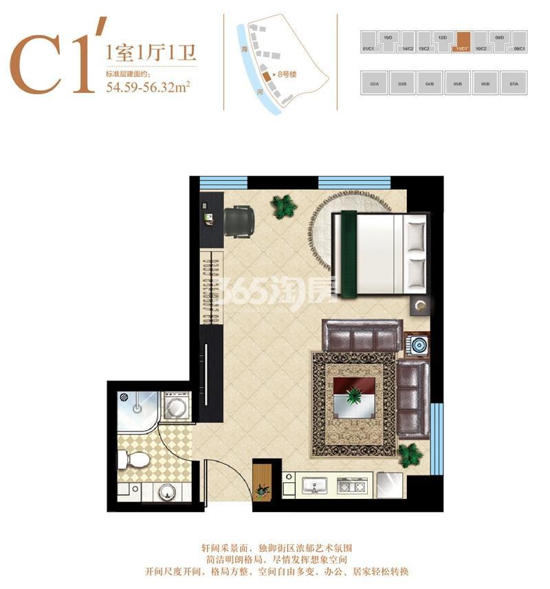 公寓C1'户型 54.59-56.32平米