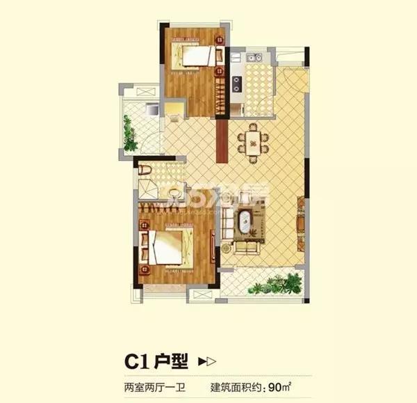 信德悦城90平2室2厅