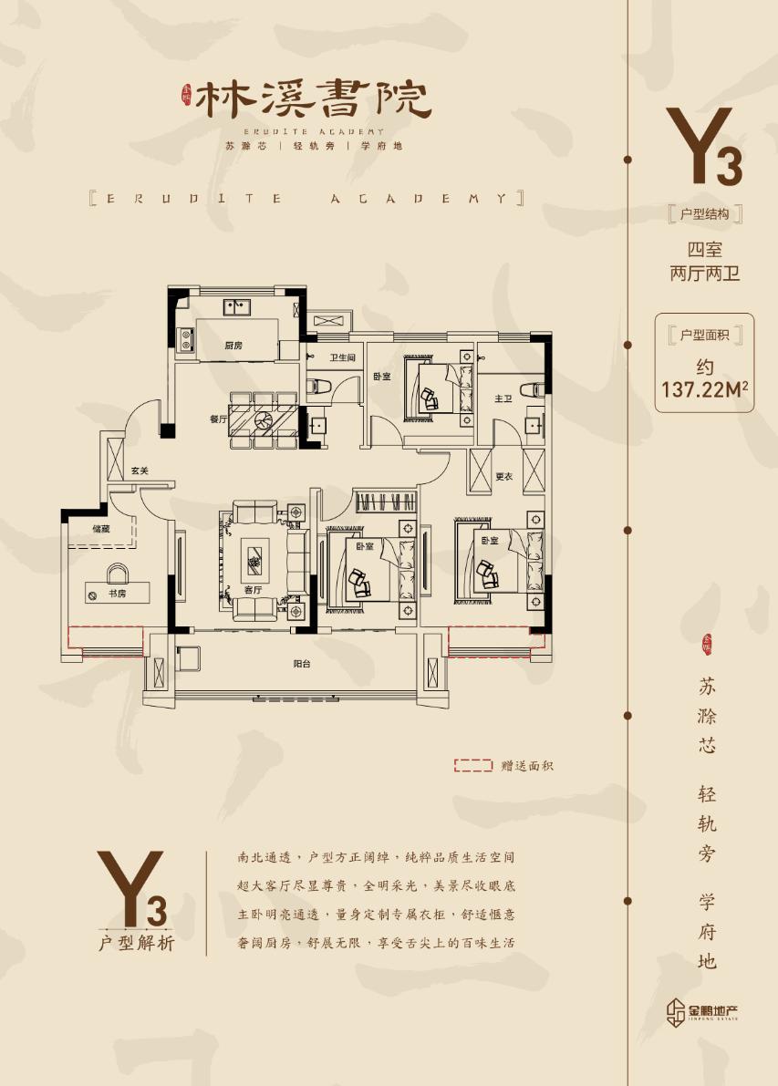 金鹏林溪书院137.22㎡Y3户型图
