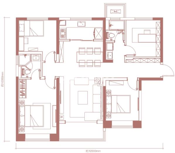 卓越坊138㎡4室2厅2卫户型图