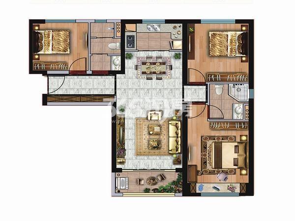 碧桂园凤凰城3室2厅2卫1厨115.00㎡户型图