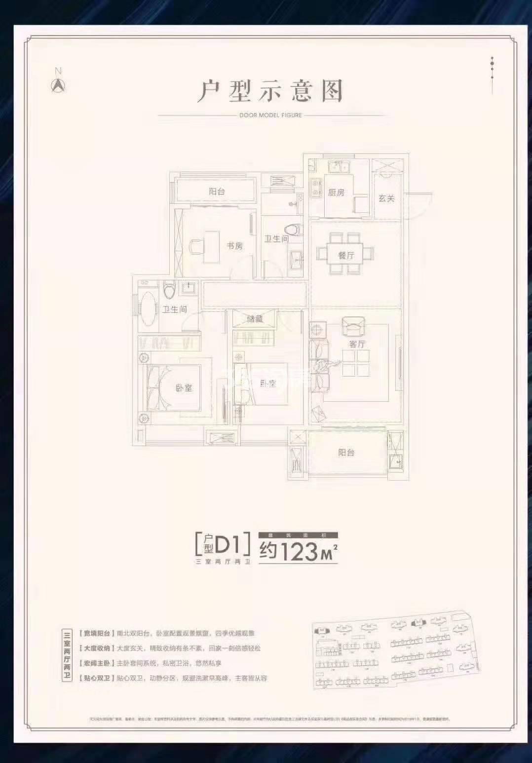 安庆金大地天元府三室两厅两卫123㎡D1户型图