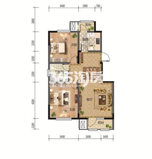 2室2厅1厨1卫 93.25平米