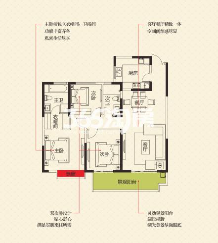世园大公馆5#楼134.8㎡3室2厅2卫1厨户型