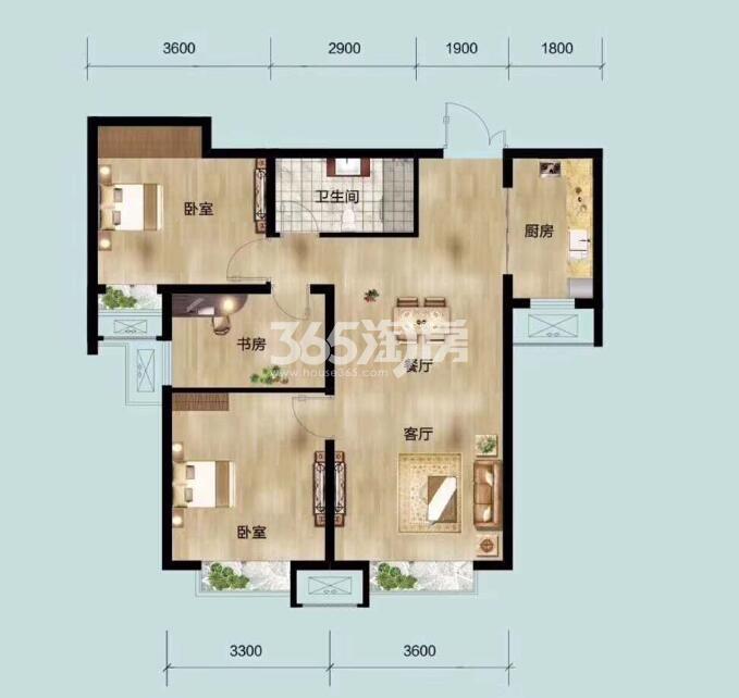 87平米三室两厅一卫