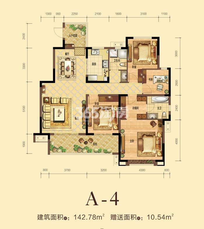 力高宝格丽天悦华府A-4户型四室两厅一厨两卫142.78平
