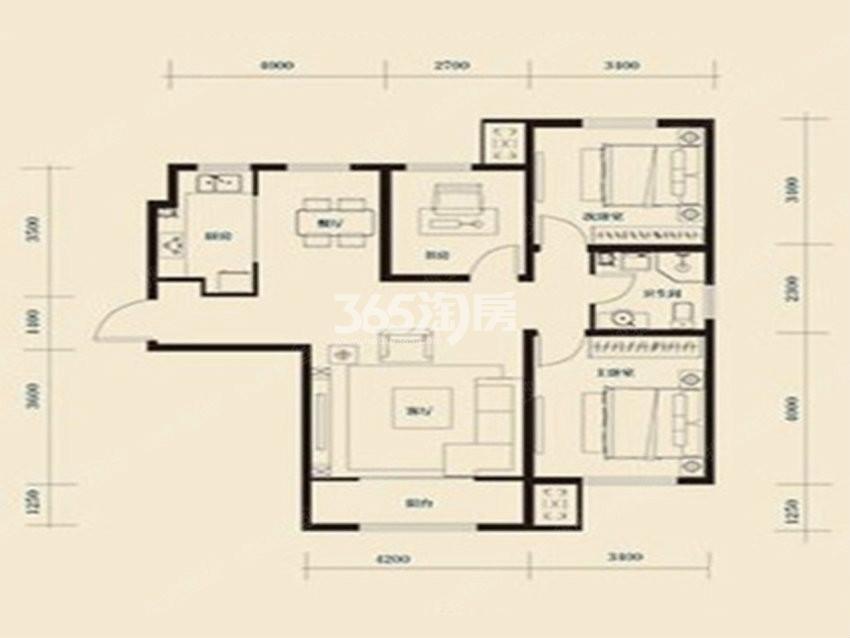 户型图 高层H户型116.28平米 三室