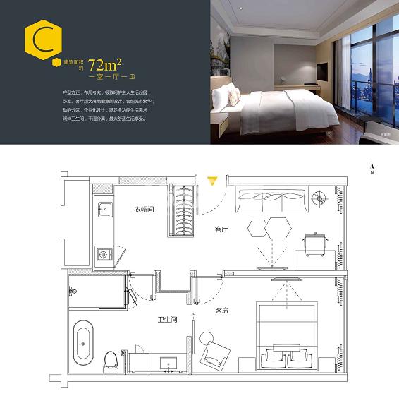 金奥诺阁雅酒店&公寓 72㎡