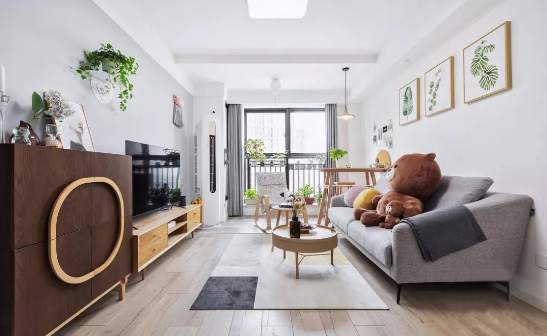 78平的北欧风小户型二居室,白、灰与木构造舒适小窝
