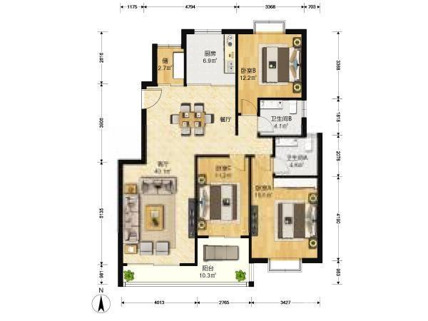 博雅苑,精装修,大三房,南北通透,房东置换降价出售