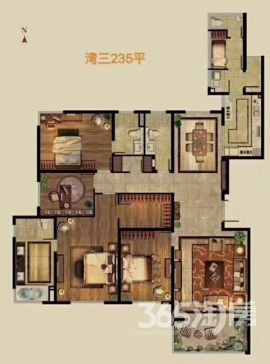 仁恒江湾城4室2厅3卫234.2平方产权房豪华装