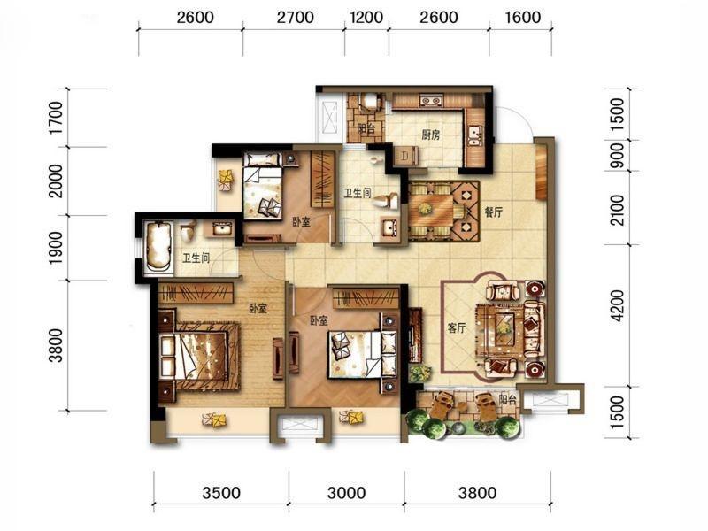B3户型三室两厅两卫 98平