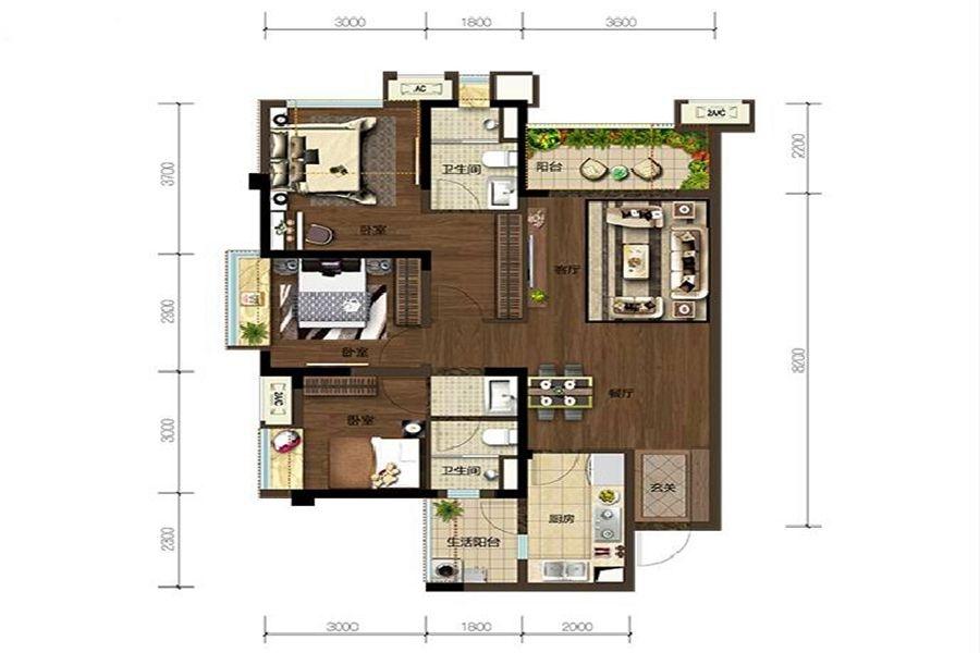 2期A4户型3室2厅2卫建面约92㎡