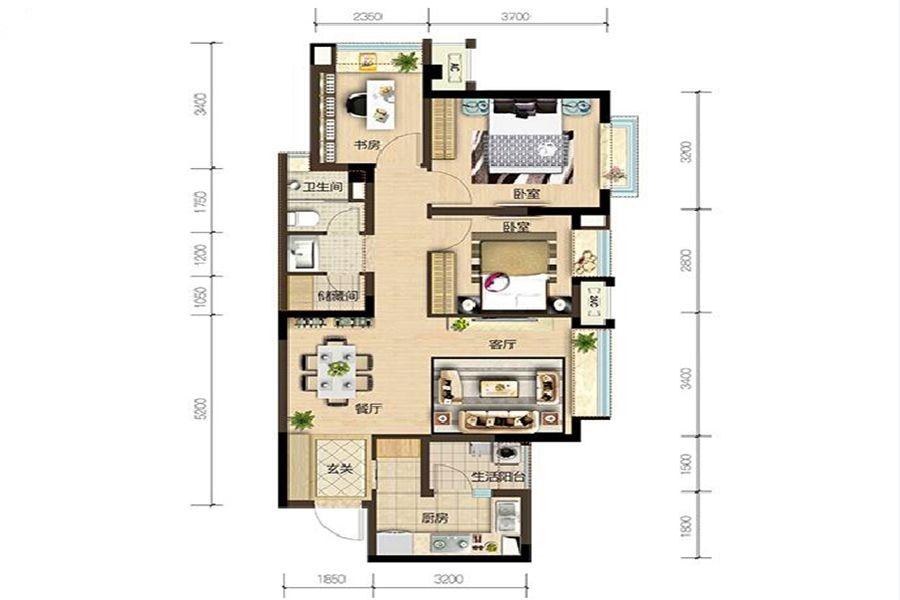 2期B5户型3室2厅1卫建面约80㎡